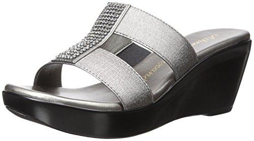 Athena Alexander Women's FINOLA Wedge Sandal, Pewter Elastic, 11 M US