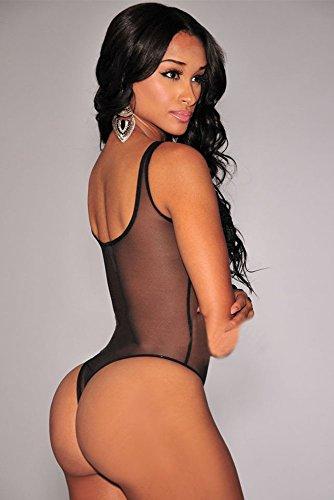 New da donna, body nero trasparente Teddy con fiori, lingerie, monokini Dance taglia M EU 10–12