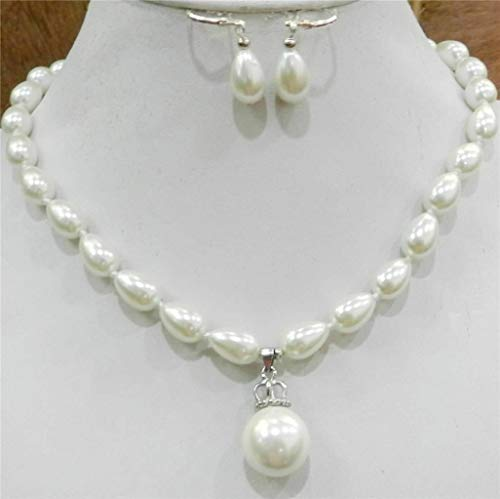 Teardrop White 8x9mm Akoya Cultured Shell Pearl Necklace Earring 14mm Pendant ()