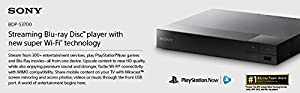 Sony BDP-S3700 Streaming Blu-Ray Disc Player w/ Wi-Fi, Bundled w/ Sony DLC-HE10S 3.3' Slim High Speed 4K/3D/Ethernet HDMI Cable by Sony