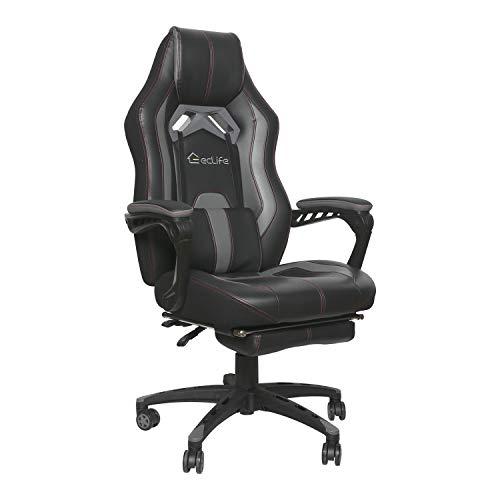 eclife Gaming Chair Office Computer Chair Game Video Chair High Back Ergonomic Backrest Seat Adjustable Swivel Task Chair E-Sports Chair with Lumbar Support and Footrest (OF-D01, Black)