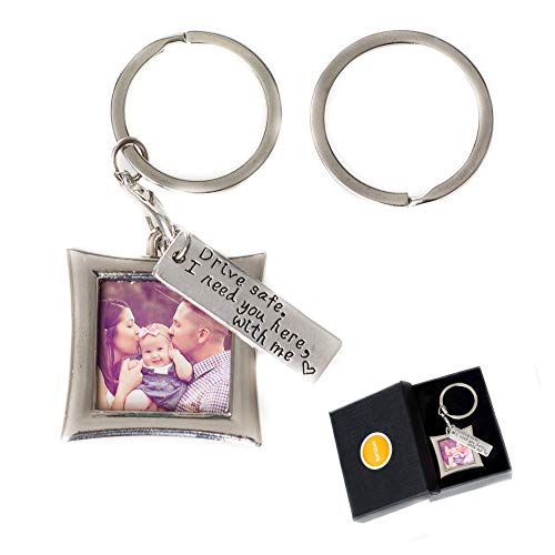 AmzLife Drive Safe Keychain I Need You Here with Me and Elegant Mini Photo Frame, for Someone You Love, Trucker Husband Or for Boyfriend, Couples