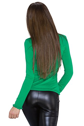 Fashion Plain de la mujer manga larga Top de manga larga Talla única Verde