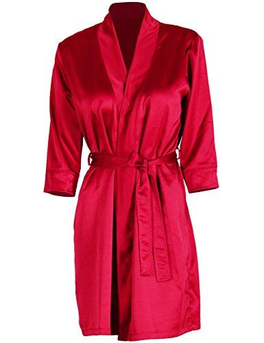 D&P Women's Bathrobe Short Bath Robes with Kimono Collar (XL, Red)