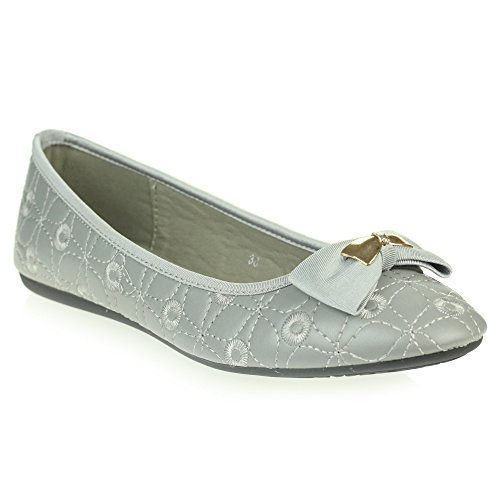 Office Ballet LONDON Womens On Ballerinas Toe Size AARZ Smart Slip Work Closed Shoes Ladies Flat Comfort Grey Dolly Pumps dpI5wPq