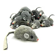 10 pack NATURAL GRAY Real Fur Cat and Kitten Toy Mice LOTS OF FUN!!