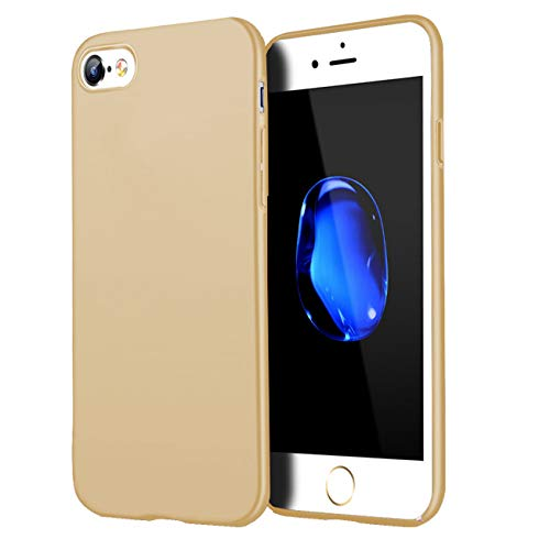 Compatible for iPhone 7 Case/iPhone 8 Case, Anti-Fingerprint,Matte Finish Comfortable Silky Smooth Touch Great Grip Feeling Slim Fit Hard Plastic PC Super Thin Mobile Phone Cover-Gold