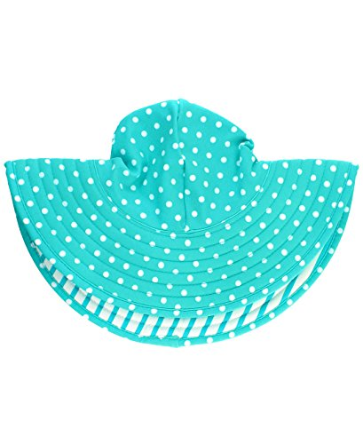 RuffleButts Baby/Toddler Girls Aqua Polka Dot and Aqua Stripe Reversible Swim Hat - 0-12m