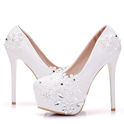 White 35 uk 3 Corte Señoras Noche Plataforma Blanco eur40uk7 Rhinestones Paseo Nvxie Cordón Zapatillas Alto Superficial Nupcial Eur Mujer Boda Cristal Talones Zapatos Rwp1UHq