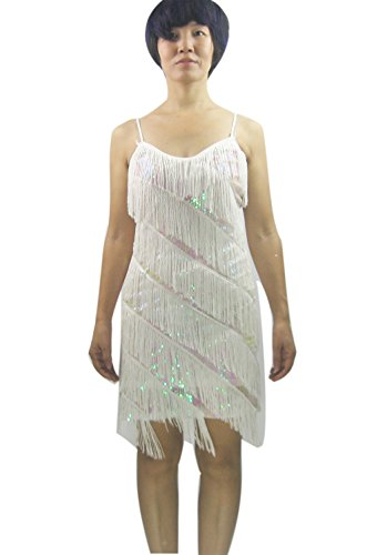 Vintage 1920's Charleston Charmer Flapper Halloween Costume Outfit Dresses , White, S/M]()