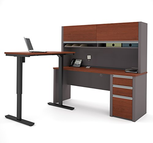 BESTAR Connexion L-Desk with Hutch Including Electric Height Adjustable Table, Bordeaux/Slate