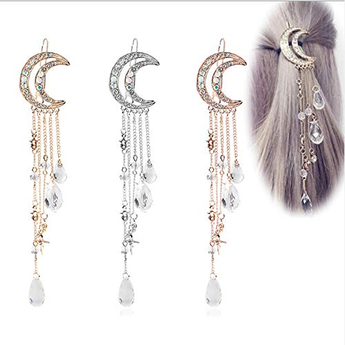 4 Piece Woman Clip Moon Rhinestone Crystal Pendant Pin Tassel Long Chain Beads Hairpin Ladies Hair Jewelry Clip Drop Shipping