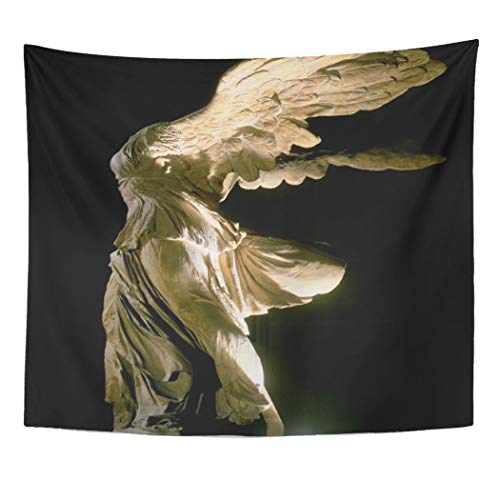 Semtomn Tapestry Artwork Wall Hanging Fine Side View of Victory Samothrace Parian Mar Sculpture 60x80 Inches Home Decor Tapestries Mattress Tablecloth Curtain Print]()
