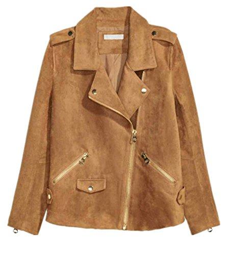 Arctic Cubic Punk Rock Style Asymmetric Faux Suede Zipper Front Zip Up Wrap Collar Moto Biker Jacket Top Camel - Arctic Disco