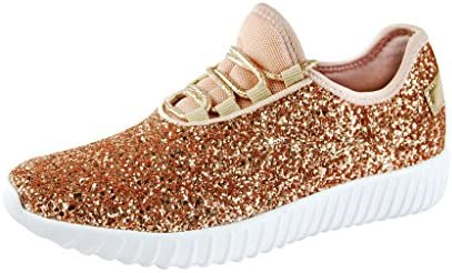 rose gold sequin tennis shoes