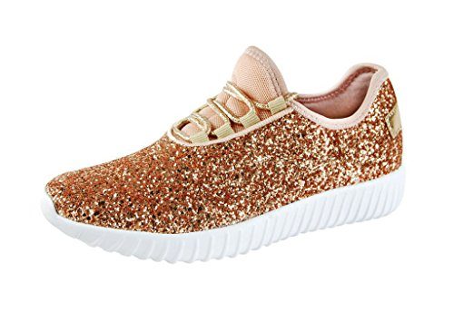 ROXY ROSE Women Fashion Jogger Sneaker - Lightweight Glitter Quilted Lace Up Shoes & Elastic Tongue (6.5 B(M) US, Rose gold)