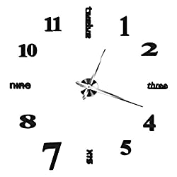 OuYou Fashion 3D Frameless Large Wall Clock Stickers-Personality DIY Circular Large Wall Clock Watch Living Room Bedroom Home Decoration(Black)