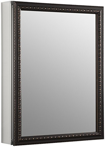 KOHLER K-2967-BR1 20 inch x 26 inch Aluminum Bathroom Medicine Cabinet with Oil-Rubbed Bronze Framed Mirror Door; Recess or Surface -