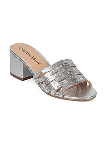 Alrisco Women Open Toe Strappy Rhinestone Low Block Heel Slide HG62 - Silver Metallic (Size: 8.5)