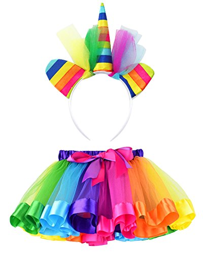 L'VOW Little Girls Rainbow Tutu Skirts Unicorn Headband Christmas Wedding Costume Kit (Style Two) by L'VOW