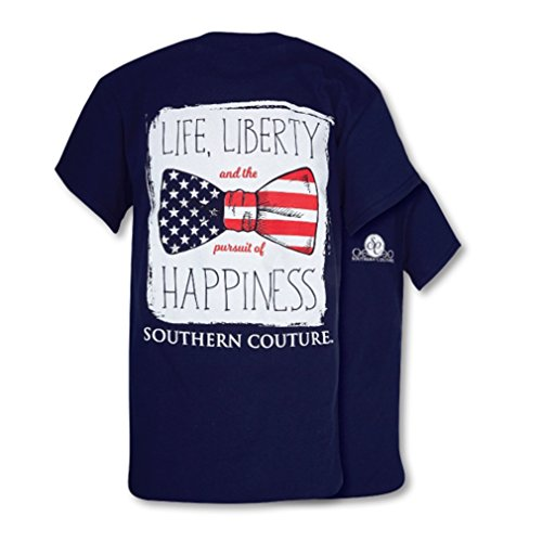 9a796bd53 Southern Couture SC Classic Liberty Bow Womens Classic Fit T-Shirt - Navy
