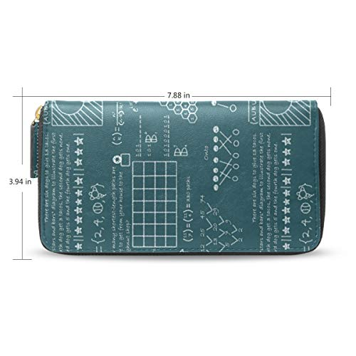 Women Interesting Math Calculus Equations Blue Leather Wallet Large Capacity Zipper Travel Wristlet Bags Clutch Cellphone Bag