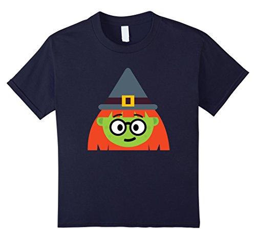 Kids Witch Emoji T-Shirt Nerd Geek Halloween Costume Gift 12 Navy (Nerd Look For Girls For Halloween)