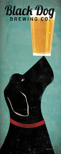 Black Dog Brewing Co Ryan Fowler Beer Sign Dog Lab Animals Print Poster ()