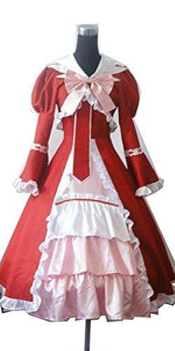 CosEnter Anime Black Butler Elizabeth Midford Red Princess Dress Cosplay (Black Butler Elizabeth Cosplay Costumes)