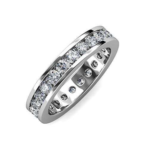 trijewels Diamond 3mm Channel Set Womens Eternity Band 1.71 to 2.07 ctw in 14K White Gold.Size 6.75 ()