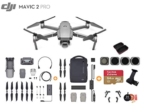 DJI Mavic 2 Pro Drone Quadcopter with Fly More Kit, Ultimate Bundle, with 64GB SD Card, Filter Set (CPL ND8 ND16 ND32), Landing Gear, Landing Pad and Backpack (Fly More Combo)