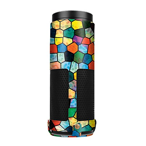 Fintie Protective Case for Amazon Echo (1st Generation) - Premium Vegan Leather Cover Sleeve Skins, Stained Glass