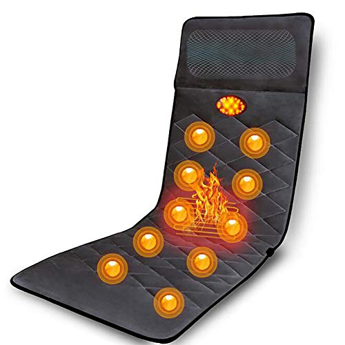 D&F Electric Heated Massage Mattress,Full Body Massage Mat,9 Vibrating Motors Neck, Back, Hips, Lumbar Area, Legs and Soothing Body Relief ()