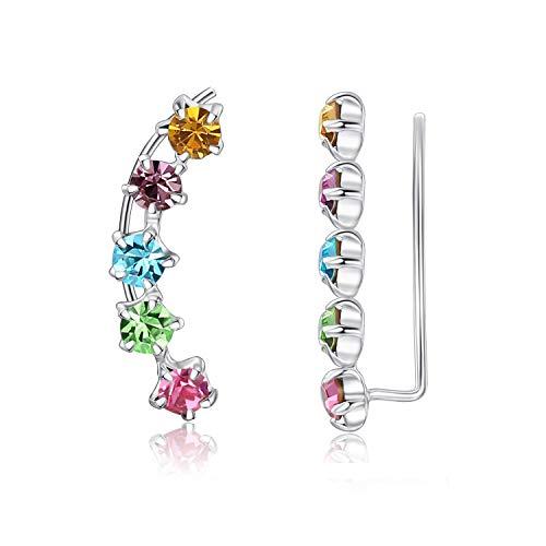 Sterling Silver Colorful Crystal Ear Crawler Cuff Earrings Hypoallergenic Stud Ear Climber Jackets by JORA