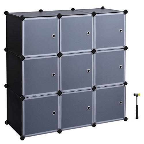 SONGMICS Storage Cube storage Closet Cabinet DIY Bookcase with Door 9-Cube 3-Tier ULPC33H