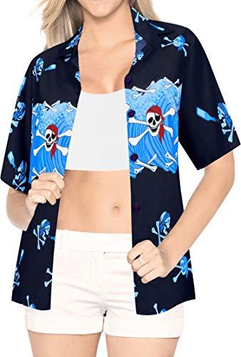 LA LEELA Likre Luau Party Blouses Collar Shirt Bright Blue 111 M - US 36 - 38D]()