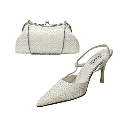 Satin Beaded Slingback Shoes and Matching Bags Set Size 7/40 - Green Gold OIqZCPL