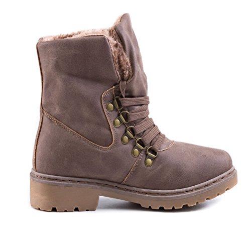 b58fb743d51084 ... Damen Winter Schnür Boots Schuhe Stiefel mit Kunstfell in Lederoptik  warm gefüttert Khaki gefüttert ...
