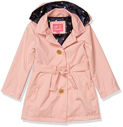 Pink Platinum Little Girls Hooded Trench Coat, Mauve, 4
