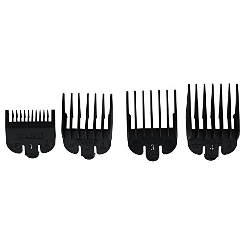 "Wahl Professional Clipper Guide #3160-100 – Great for Professional Stylists and Barbers – 4 Pack – Cutting Lengths from 1/8"" to 1/2"""