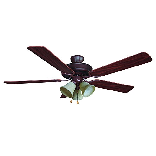 (Yosemite Home Decor Calder-ORB-3 52-Inch Ceiling Fan with Light Kit and Walnut/Wengue Blades, Oil Rubbed Bronze)