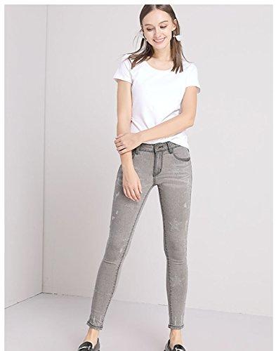 Femme Denim Gris Taille Jeans Casual Slim Pants Pantalons Haute Lanbaosi Leggings Bpw7qdOCq