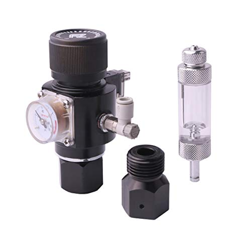 Fzone Aquarium CO2 Regulator Triple Stage with DC Solenoid and Bubble Counter Check Valve Compatible Painball Tank CGA320 CO2 Cylinder (Aquarium Co2 Small)