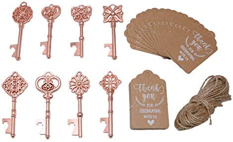 Wedding Favors for Guests 40 Pack Mixed Large Skeleton Key Bottle Openers Rose Gold,8 styles with Tagand Twine Vintage Bridal Shower Favors Bottle Opener Rose Gold 40pcs