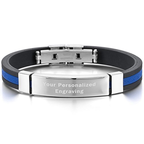 MeMeDIY Silver Tone Black Blue Stainless Steel Rubber Bracelet Bangle Greek - Customized - Silver Black Blue