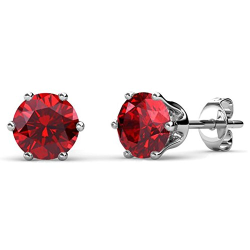 (Cate & Chloe July Birthstone Stud Earrings, 18k White Gold Plated Earrings with 1ct Ruby Red Gemstone Swarovski Crystals, July Birthstone Jewelry for Women)
