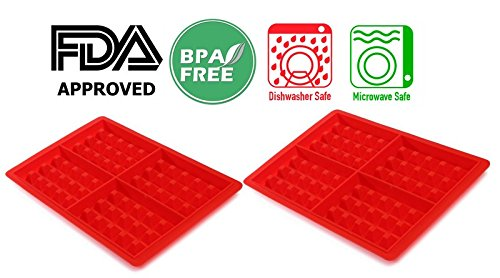 2 ALAZCO 4-Cavity Silicone Waffle Mold, Belgian Waffle Chocolate Candy Soap Non-Stick Microwave Dishwasher Freezer safe - Oven Safe Heat Resistant Up To 450°F (Chocolates Belgian Red)