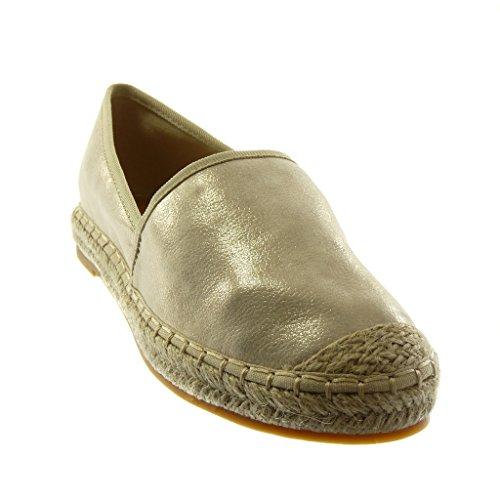 Blocco Oro Slip a cm Grana Moda Scarpe 2 a on Donna Corda Espadrillas Tacco 5 Angkorly AcPZ1Tqc