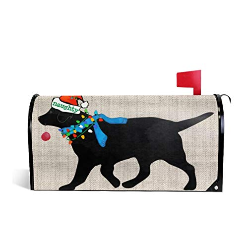 SSERFT Christmas Black Lab Holiday Naughty Dog Mailbox Covers Standard Size Magnetic Mail Wraps Cover Letter Post Box 21x18 in