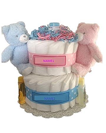 Amazon Com 2 Tier Twin Baby Diaper Cake Twin Baby Shower